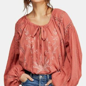 NWT Free People Maria Maria Embroidered Blouse L